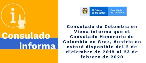 Consulado de Colombia en Viena informa que el Consulado Honorario de Colombia en Graz, Austria no estará disponible del 2 de diciembre al 23 de febrero