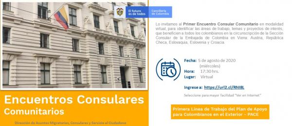 Consulado de Colombia en Viena invita al Primer Encuentro Consular Comunitario que se realizará en modalidad